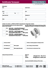 Order Form Thermographic Paper